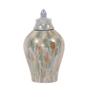 Celadon Dripped Ceramic Urn with Lid - Small
