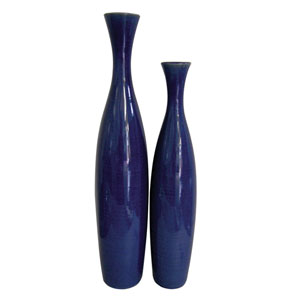 Cobalt Blue 22-Inch Ceramic Vase, Set of 2