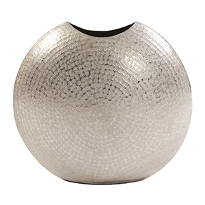Frosted Silver Metal Vase Large