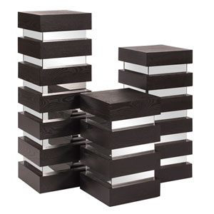 Stepped Black Medium Wood Pedestal