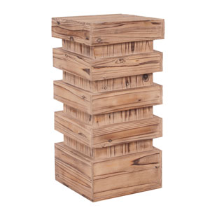 Stepped Natural Wood Medium Pedestal