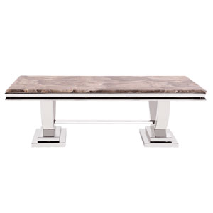 Stainless Steel Coffee Table with Stone Top