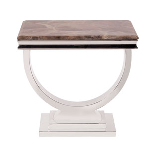 Stainless Steel Side Table with Stone Top