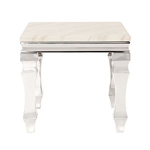 Stainless Steel End Table with Faux Marble Top