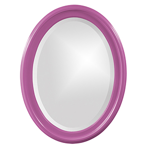 George Glossy Hot Pink Oval Mirror