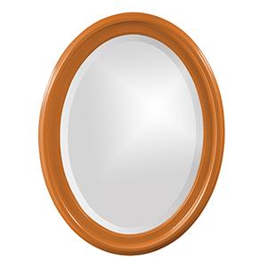 George Glossy Orange Oval Mirror