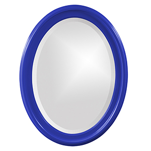 George Glossy Royal Blue Oval Mirror
