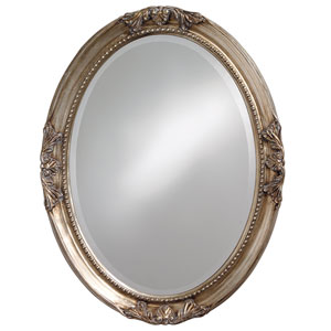 Queen Ann Antique Silver Oval Leaf Mirror