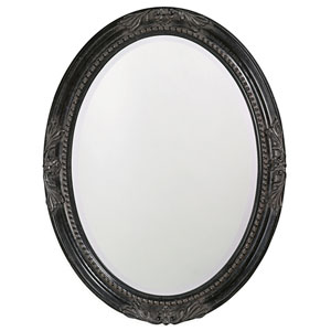 Queen Ann Antique Black Oval Mirror
