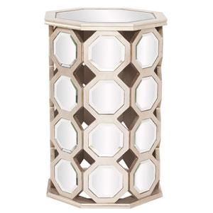 Mirrored Hexagon Wood Table - Tall