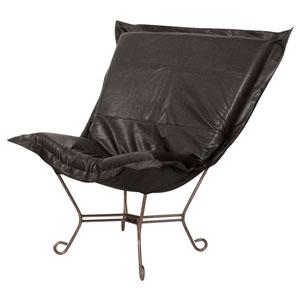 Avanti Black 40-Inch Scroll Puff Chair with Titanium Frame