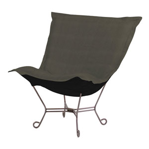 Sterling Charcoal 40-Inch Puff Chair with Titanium Frame