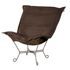 Bella Chocolate Brown Puff Chair with Titanium Frame