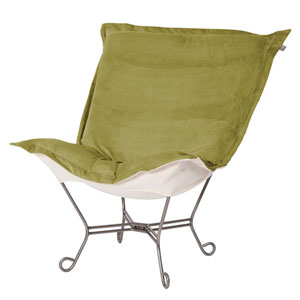 Bella Moss and Natural Puff Chair with Titanium Frame