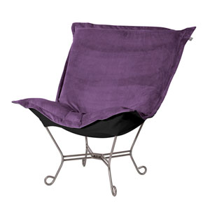 Eggplant and Black Puff Chair with Titanium Frame