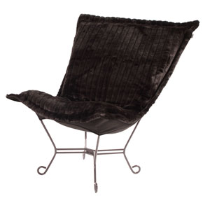 Scroll Mink Black Titanium Frame Puff Chair