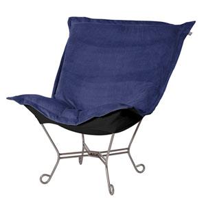 Bella Royal Black Puff Chair with Titanium Frame