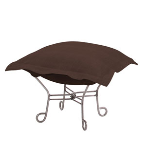 Sterling Chocolate Puff Ottoman with Titanium Frame