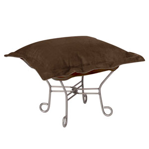 Bella Chocolate Puff Ottoman with Titanium Frame