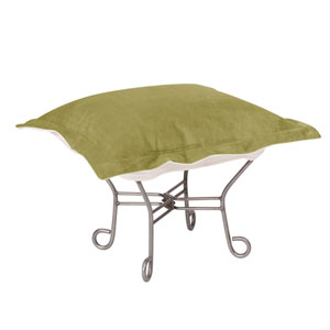 Bella Moss Green Puff Ottoman with Titanium Frame