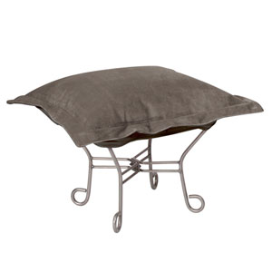 Bella Pewter Puff Ottoman with Titanium Frame