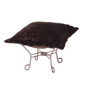 Scroll Mink Brown Titanium Frame Puff Ottoman