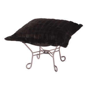 Scroll Mink Black Titanium Frame Puff Ottoman