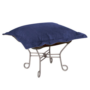 Scroll Puff Bella Royal Puff Ottoman with Titanium Frame