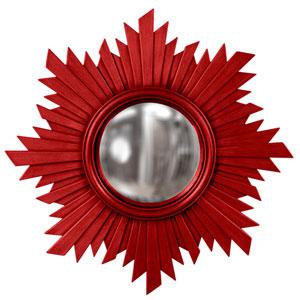 Serenity Red Round Mirror