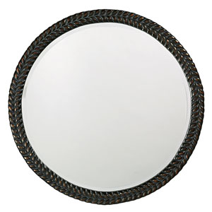Amelia Antique Black Round Mirror