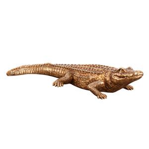 Antiqued Gold Crocodile Sculpture