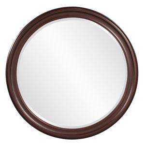 George Wenge Brown Round Mirror