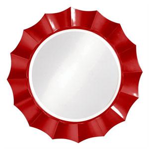 Corona Red Round Mirror