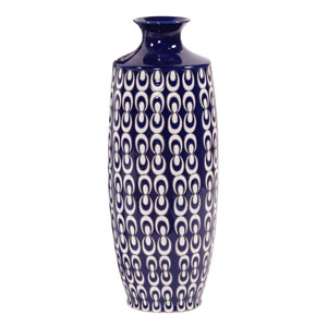 Navy Blue and White Textured Ceramic Vase - Small