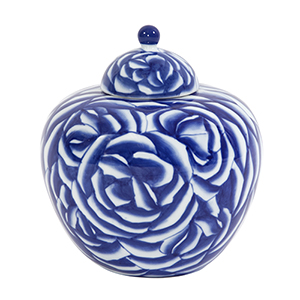 Blue and White Abstract Rose Ceramic Jar with Lid