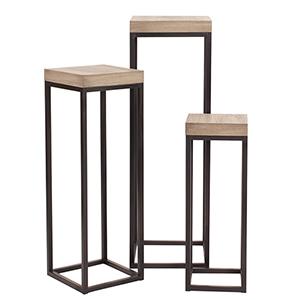 Wood and Metal Pedestals - Set of 3
