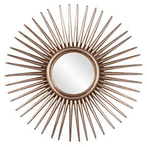 Cascade Silver Leaf Starburst Round Mirror