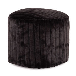 Mink Black Tall Pouf