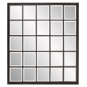 Superior Antique Black Window Square Mirror