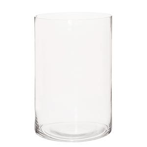 Clear Hand Blown Glass Cylinder Vase, Wide