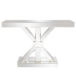 Mirrored X Shaped Console Table