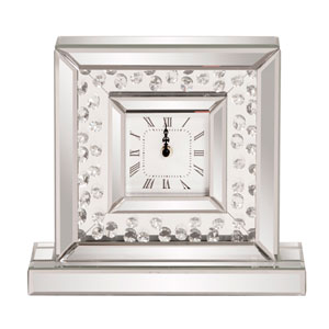 Glass Crystal Accented Mirrored Clock