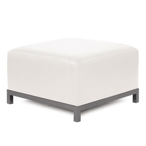 Axis Avanti White Ottoman with Titanium Frame