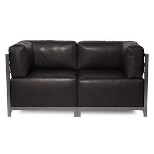 Axis Avanti Black 2-Piece Sectional Sofa with Titanium Frame