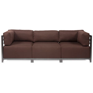 Axis Chocolate Brown 3-Piece Sectional Sofa with Titanium Frame