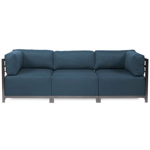 Axis Indigo Blue 3-Piece Sectional Sofa with Titanium Frame