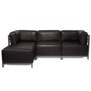Axis Avanti Black 4-Piece Sectional Sofa with Titanium Frame