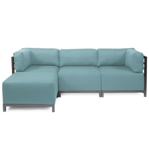 Axis Light Blue 4-Piece Sectional Sofa with Titanium Frame