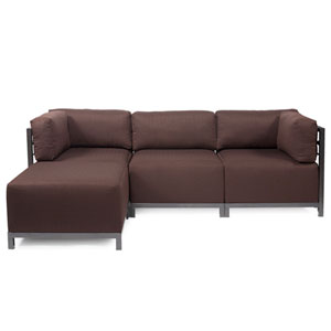 Axis Chocolate Brown 4-Piece Sectional Sofa with Titanium Frame