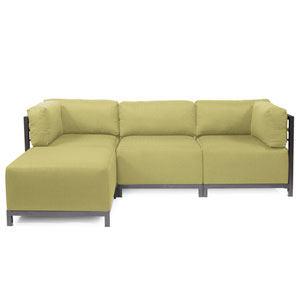Axis Willow Green 4-Piece Sectional Sofa with Titanium Frame